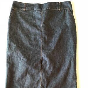 ZARA Basics Dark Denim Pencil Skirt Front Slit